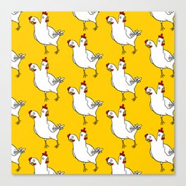 Two Headed Chicken Repeat Pattern Canvas Print