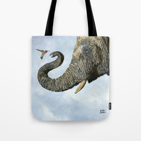 Elephant Cyril And Hummingbird Ayre Tote Bag