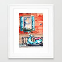 vespa Framed Art Prints featuring Vespa by Alla Lsk