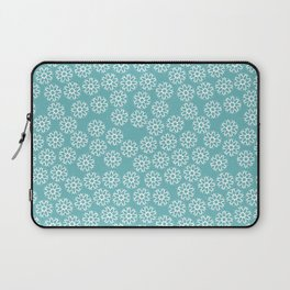 Artistic hand painted pastel teal white snow flakes pattern Laptop Sleeve