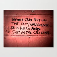 toilet Canvas Prints featuring toilet humor by Mea Culpa