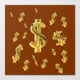 FLOATING GOLDEN DOLLARS  IN COFFEE BROWN DESIGN Canvas Print