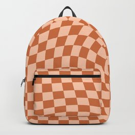 Check IV - Orange Twist — Checkerboard Print Backpack