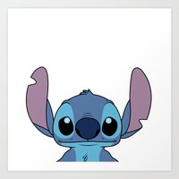 stitch Art Prints featuring Stitch by A.Cat Designs