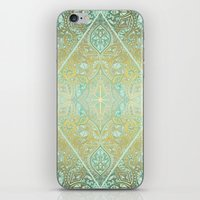bedding iPhone & iPod Skins featuring Mint & Gold Effect Diamond Doodle Pattern by micklyn