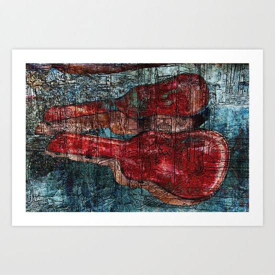 the guitar case story Art Print