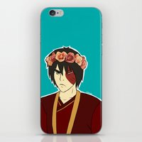 zuko iPhone & iPod Skins featuring FlowerCrown Zuko by Sakizm