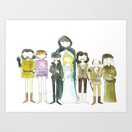 Princess Bride Cast Cartoon Art Print