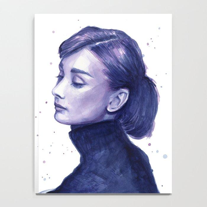 Audrey Hepburn Watercolor Portrait Notebook