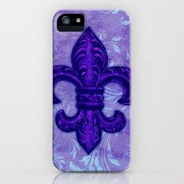 Purple Fleur de Lis iPhone Case