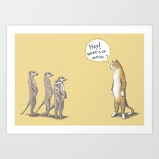 Cat & Meerkats Art Print