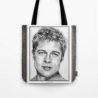 brad pitt Tote Bags featuring Brad Pitt in 2006 by JMcCombie