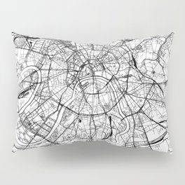 Moscow White Map Pillow Sham