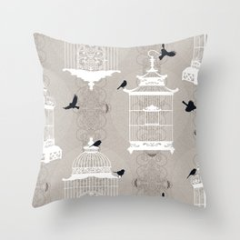 Snow Empty Brid Cages Throw Pillow
