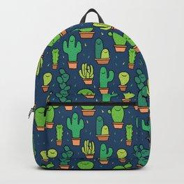 Cute Happy Cactus Cacti Pattern Dark Blue Backpack