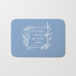 She Laughs Without Fear Wildflower Frame Bible Verse Bath Mat