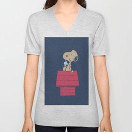 Snoopy eats Steve Apple Unisex V-Neck