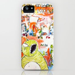 Monster in the city painting iPhone Case