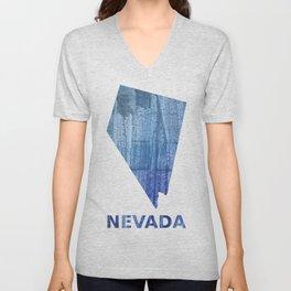 Nevada map outline Steel blue clouded wash drawing paper Unisex V-Neck