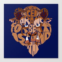 beauty and the beast Canvas Prints featuring beast by Rebecca McGoran