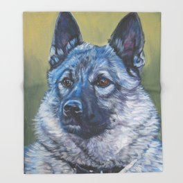 Norwegian Elkhound dog art portrait from anoriginal painting by L.A.Shepard Throw Blanket