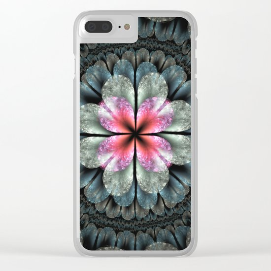 Artistic fractal fantasy flower and petals Clear iPhone Case