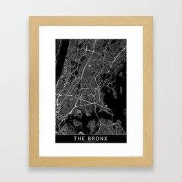 The Bronx Black Map Framed Art Print