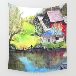 Red Barn On Lake Wall Tapestry