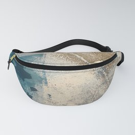 Embrace: a minimal, abstract mixed-media piece in blues and gold with a hint of pink Fanny Pack
