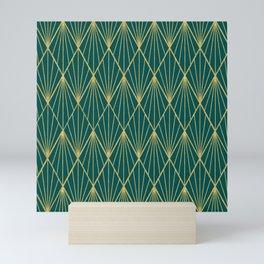 Gold peacock rhombus geometric pattern Mini Art Print