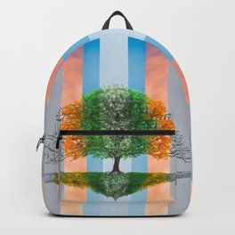 Digital painting of the seasons of the year in a tree Backpack