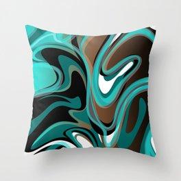 Liquify - Brown, Turquoise, Teal, Black, White Throw Pillow