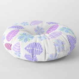 Purple, Pink, Blue, Green and Gray Leaf Floral Pattern Floor Pillow
