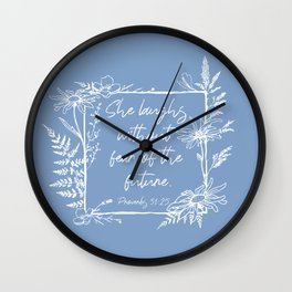 She Laughs Without Fear Wildflower Frame Bible Verse Wall Clock