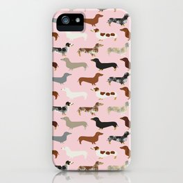 Dachshund doxie pet portrait hot dog weener dog breed funny small dogs puppy gifts for dachshund  iPhone Case