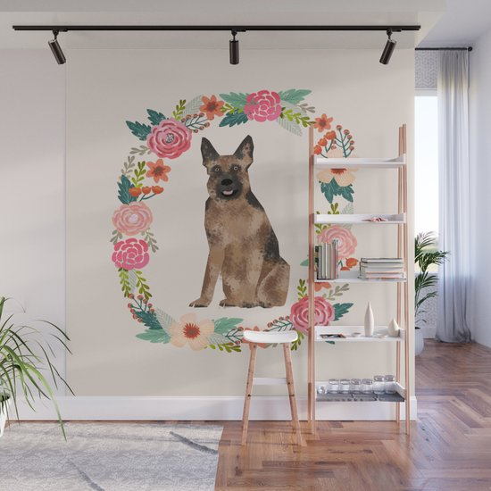 german shepherd dog floral wreath dog