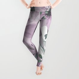 Abstract Watercolor, Purple and Gray, Floral Watercolor Leggings