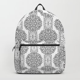 Gray white Damask ornament . Backpack
