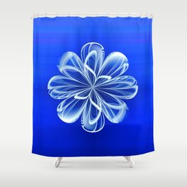 White Bloom on Blue Shower Curtain
