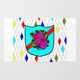 A Stained Glass Shield with Roses and Red Ribbon Rug