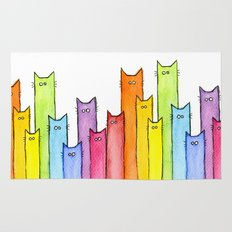 Rainbow of Cats Funny Whimsical Colorful Cat Animals Rug