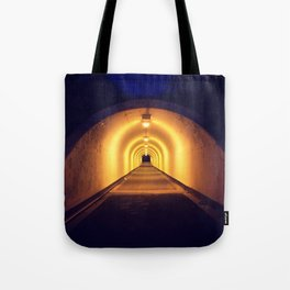 Tunnel lit up at night Tote Bag