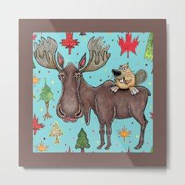 Canada Canadian wildlife, moose and beaver Metal Print