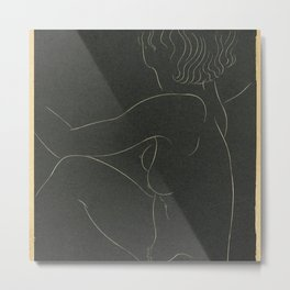 Nude Woman Line Sketch Metal Print