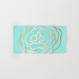 Flower in White Gold Sands on Tropical Sea Blue Hand & Bath Towel