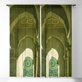 Mosque Hassan II arcade in Casablanca, Morocco Blackout Curtain