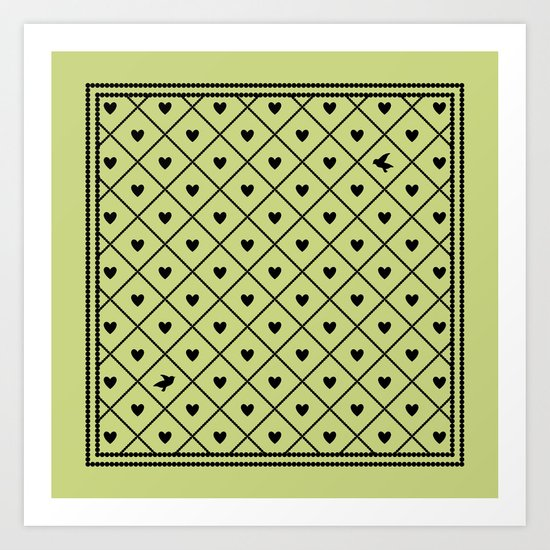 Never Far Away (from the Valentine set) (colors: legally lime) Art Print