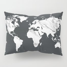 Marble World Map in Black and White Pillow Sham