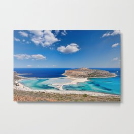 The unbelievable beauty of Balos Lagoon with Cap Tigani in Crete, Greece Metal Print