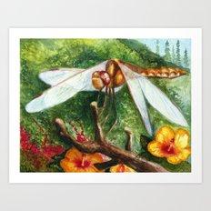 Amber Dragonfly Art Print